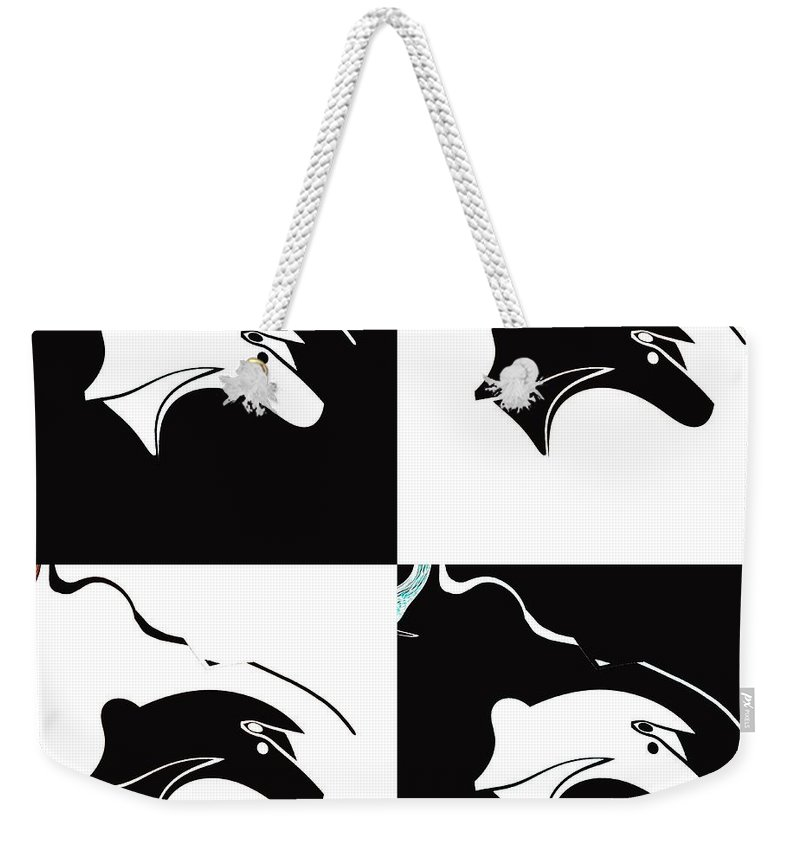 Abstract Weekender Tote Bag featuring the digital art Fable by Elisabeth Skajem Atter