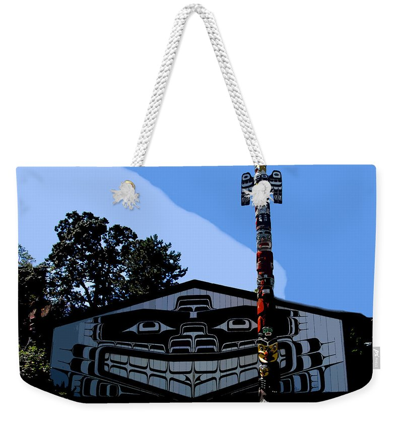 Totem Poll Weekender Tote Bag featuring the painting House Of Totem by David Lee Thompson