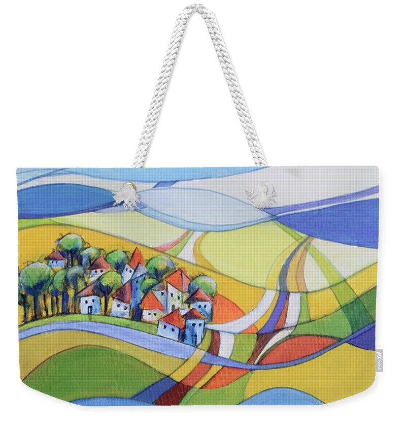 Landscape Weekender Tote Bag featuring the painting Houses Along The River by Aniko Hencz