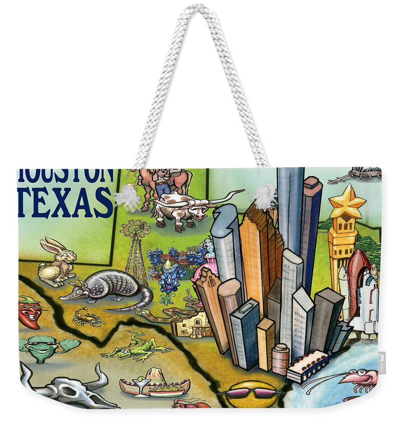 Houston Weekender Tote Bag featuring the digital art Houston Texas Cartoon Map by Kevin Middleton