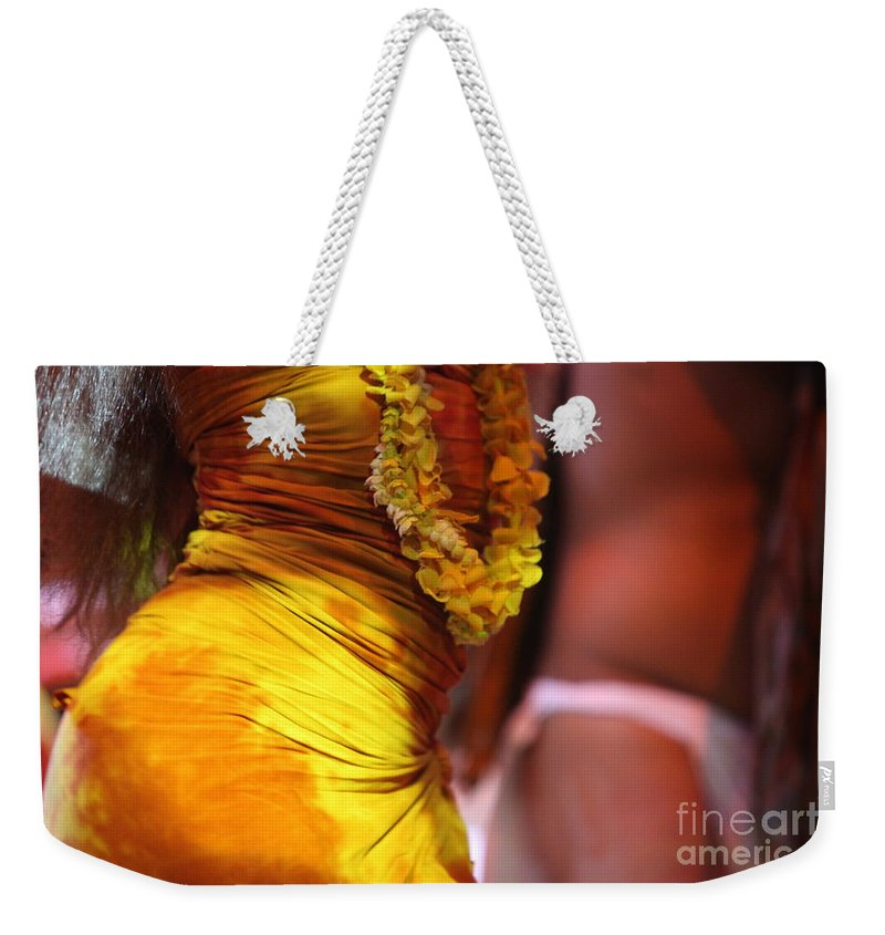 Dance Weekender Tote Bag featuring the photograph Hula Dancers by Nadine Rippelmeyer