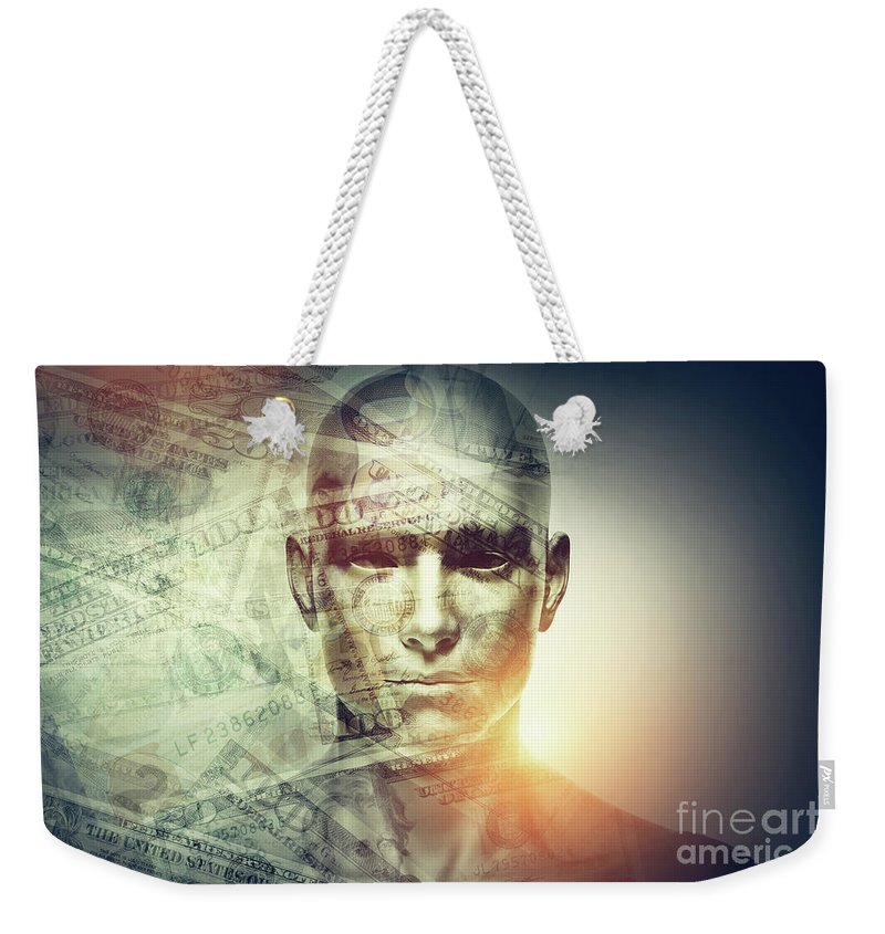 Face Weekender Tote Bag featuring the photograph Human Man Face And Dollars Double Exposure. by Michal Bednarek