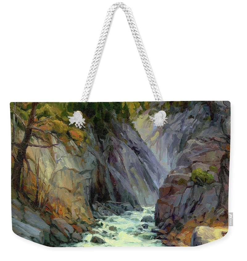 River Weekender Tote Bag featuring the painting Hurricane River by Steve Henderson