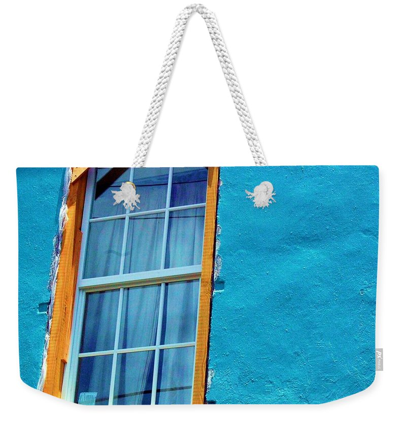 Window Weekender Tote Bag featuring the photograph I Got The Blues by Debbi Granruth