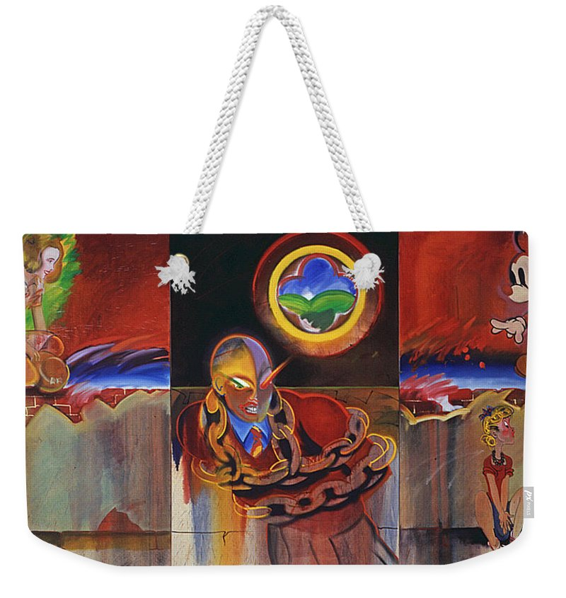 Secret Identity Weekender Tote Bag featuring the painting I Saw The Figure Five In Gold by Charles Stuart