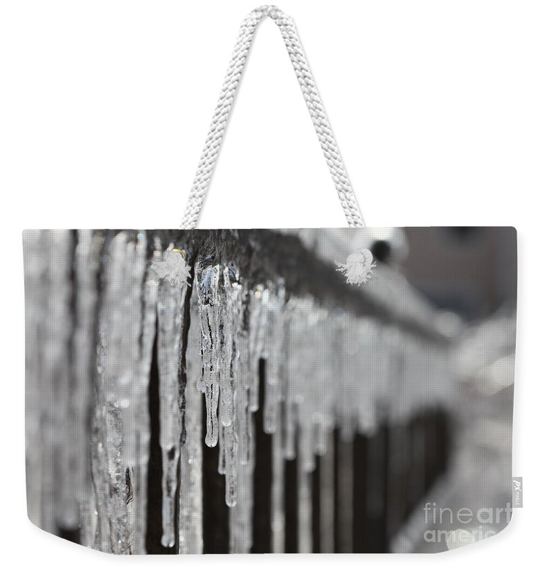 Icicles Weekender Tote Bag featuring the photograph Icicles At Attention by Nadine Rippelmeyer