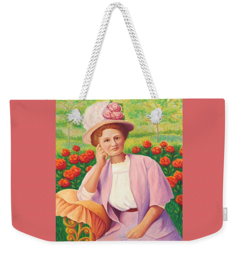 Portrait Weekender Tote Bag featuring the painting Ida In The Garden by Amy Vangsgard