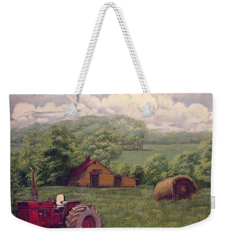 Landscape Weekender Tote Bag featuring the painting Idle In Godfrey Georgia by Peter Muzyka