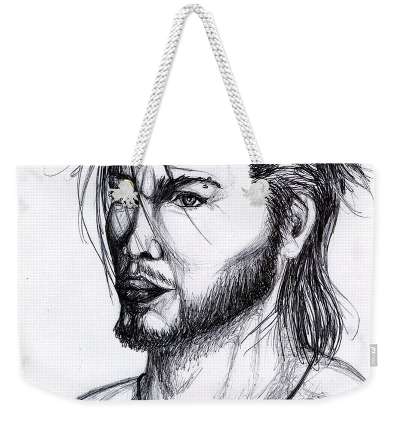 Imaginative Weekender Tote Bag featuring the drawing Imaginative Portrait Drawing by Alban Dizdari