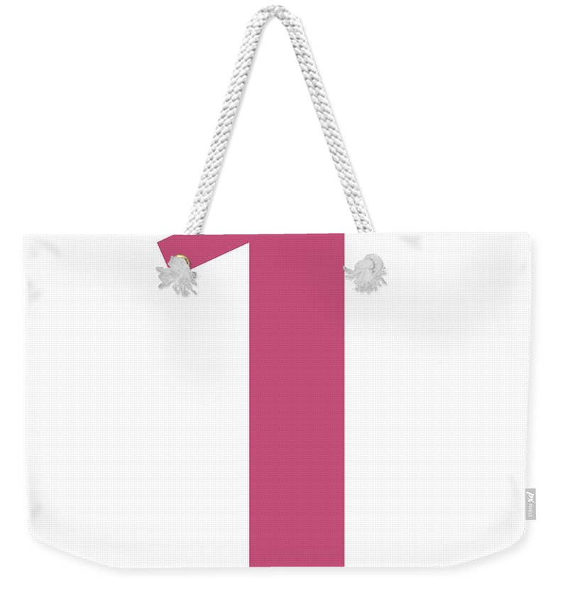 1 Weekender Tote Bag featuring the digital art 1 In Pink Typewriter Style by Custom Home Fashions