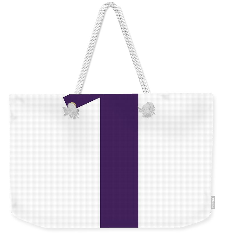1 Weekender Tote Bag featuring the digital art 1 In Purple Typewriter Style by Custom Home Fashions