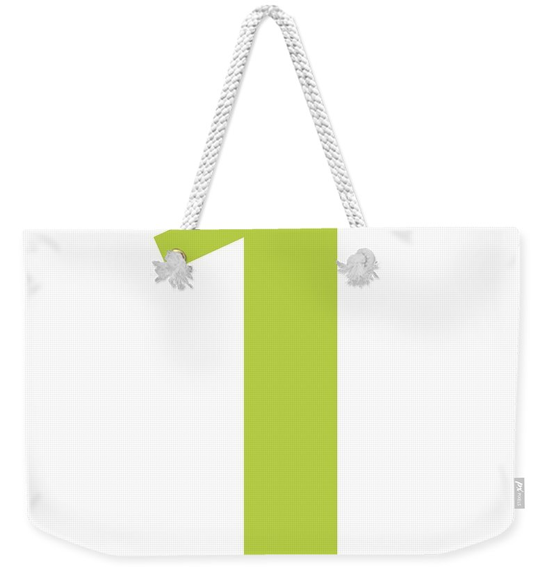 1 Weekender Tote Bag featuring the digital art 1 In Spring Green Typewriter Style by Custom Home Fashions