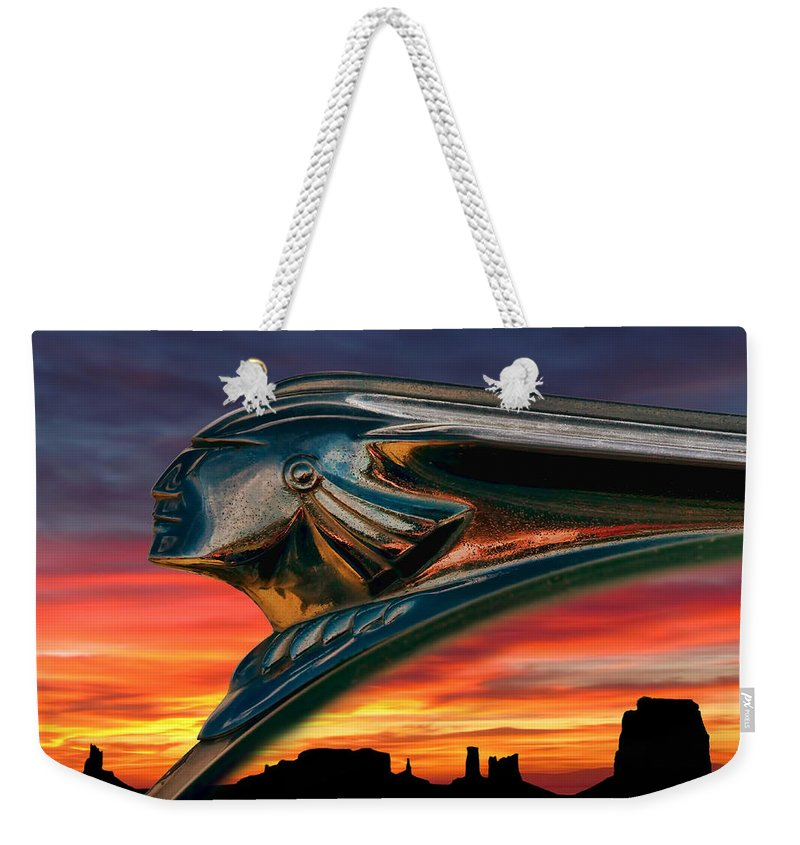hood Orament Indian Mascot Pontiac Chrome monument Valley Sunset Landscape Dramatic Silhouette Fire Chief Automotive Auto Car Ornament Orange Mesa Canyon Weekender Tote Bag featuring the digital art Indian Rainbow by Douglas Pittman