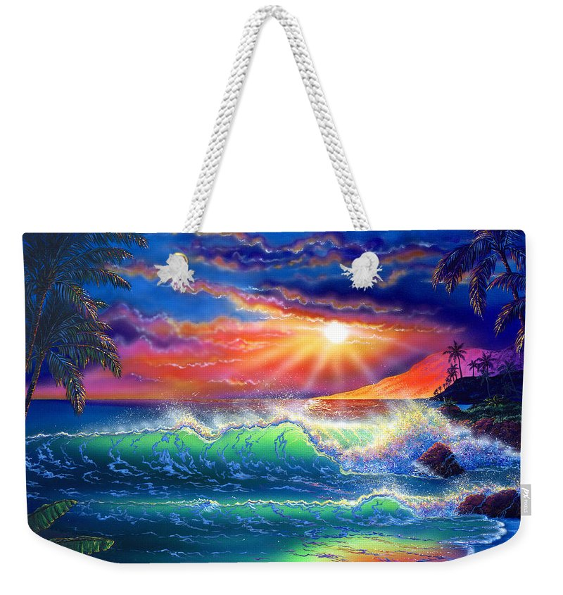 Seascape Weekender Tote Bag featuring the painting Island Paradise by Angie Hamlin