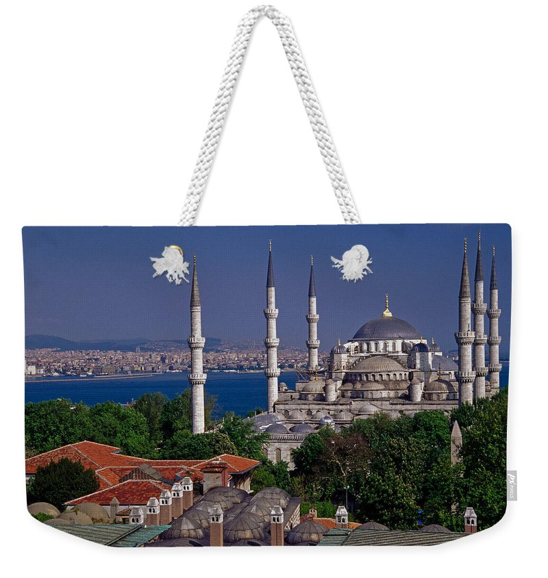 Turkey Weekender Tote Bag featuring the photograph Istanbul's Blue Mosque by Michele Burgess
