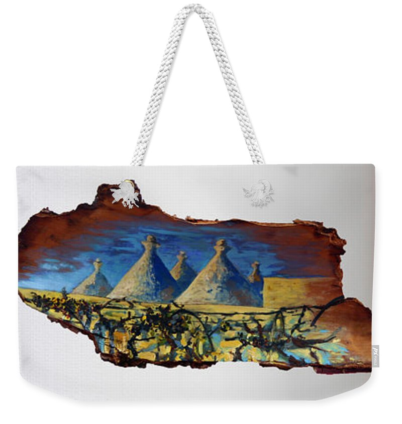 Landscape Weekender Tote Bag featuring the painting Italy Village by Pablo de Choros