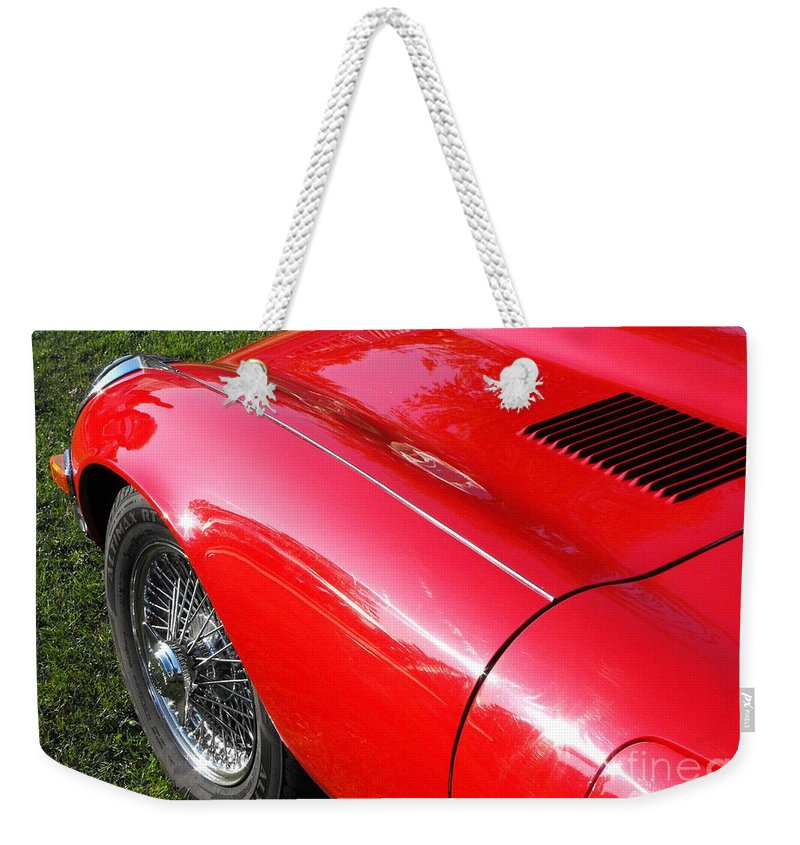Jaguar Weekender Tote Bag featuring the photograph Jaguar E-type by Neil Zimmerman
