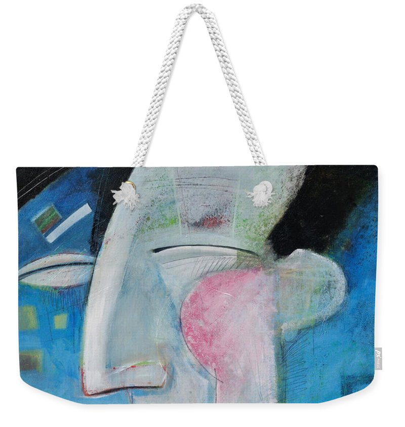 Jazz Weekender Tote Bag featuring the painting Jazz Face by Tim Nyberg