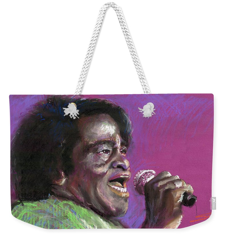 Jazz Weekender Tote Bag featuring the painting Jazz. James Brown. by Yuriy Shevchuk