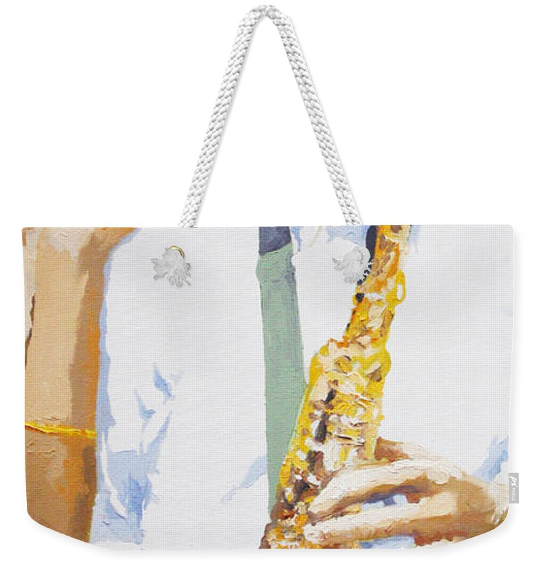 Jazz Weekender Tote Bag featuring the painting Jazz Muza Saxophon by Yuriy Shevchuk