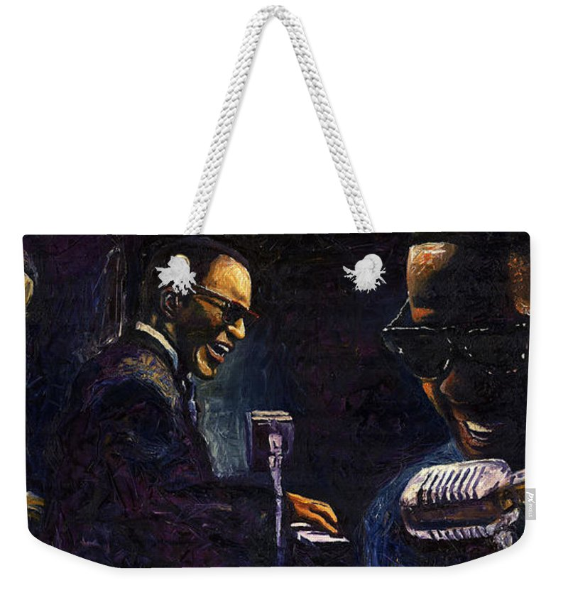 Jazz Weekender Tote Bag featuring the painting Jazz Ray Charles by Yuriy Shevchuk