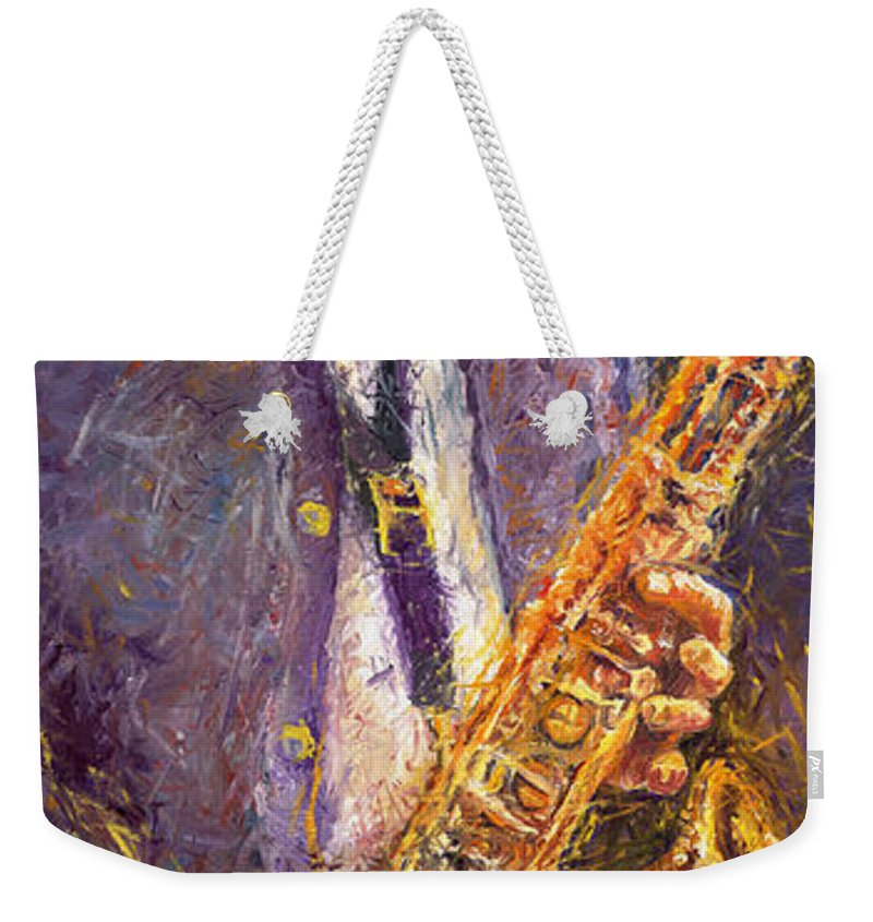 Jazz Weekender Tote Bag featuring the painting Jazz Saxophonist by Yuriy Shevchuk