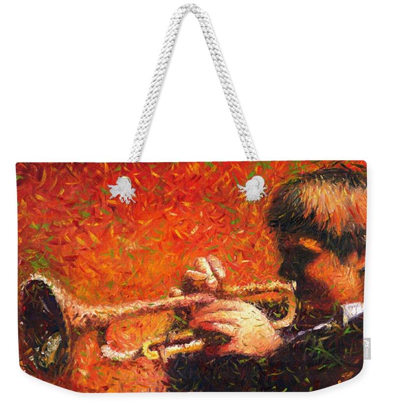 Jazz Weekender Tote Bag featuring the painting Jazz Trumpeter by Yuriy Shevchuk