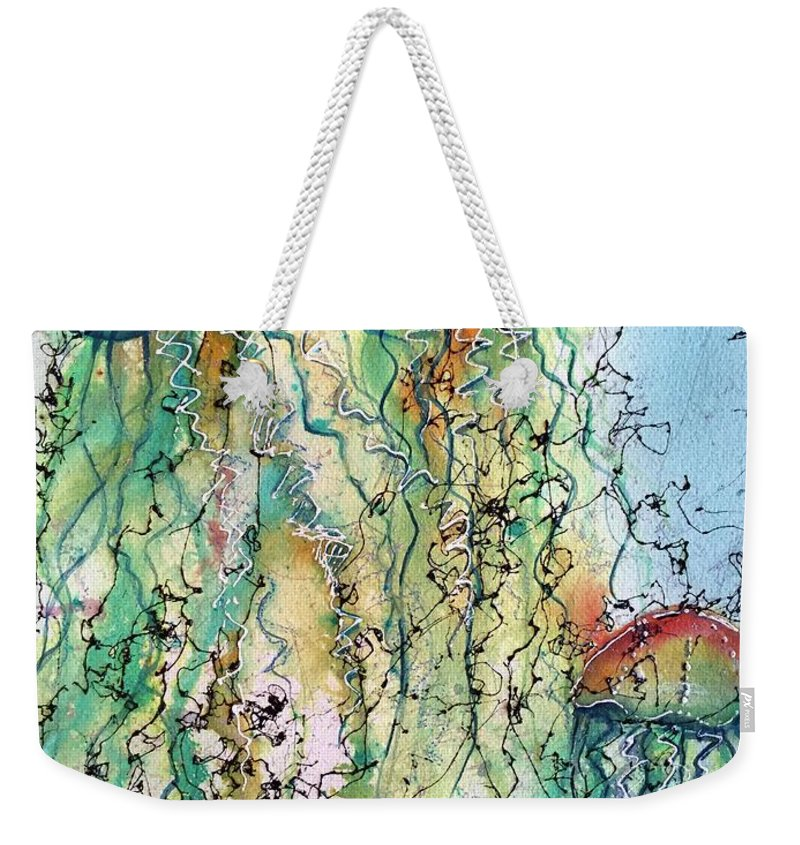 Jellyfish Weekender Tote Bag featuring the painting Jellyfish IIi by Midge Pippel