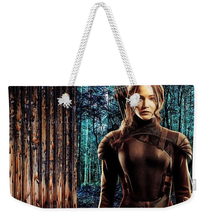 Jennifer Lawrence Weekender Tote Bag featuring the mixed media Jennifer Lawrence Collection by Marvin Blaine