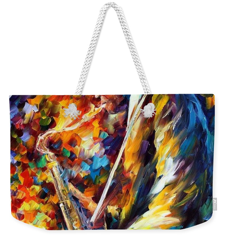 Afremov Weekender Tote Bag featuring the painting John Coltrane by Leonid Afremov