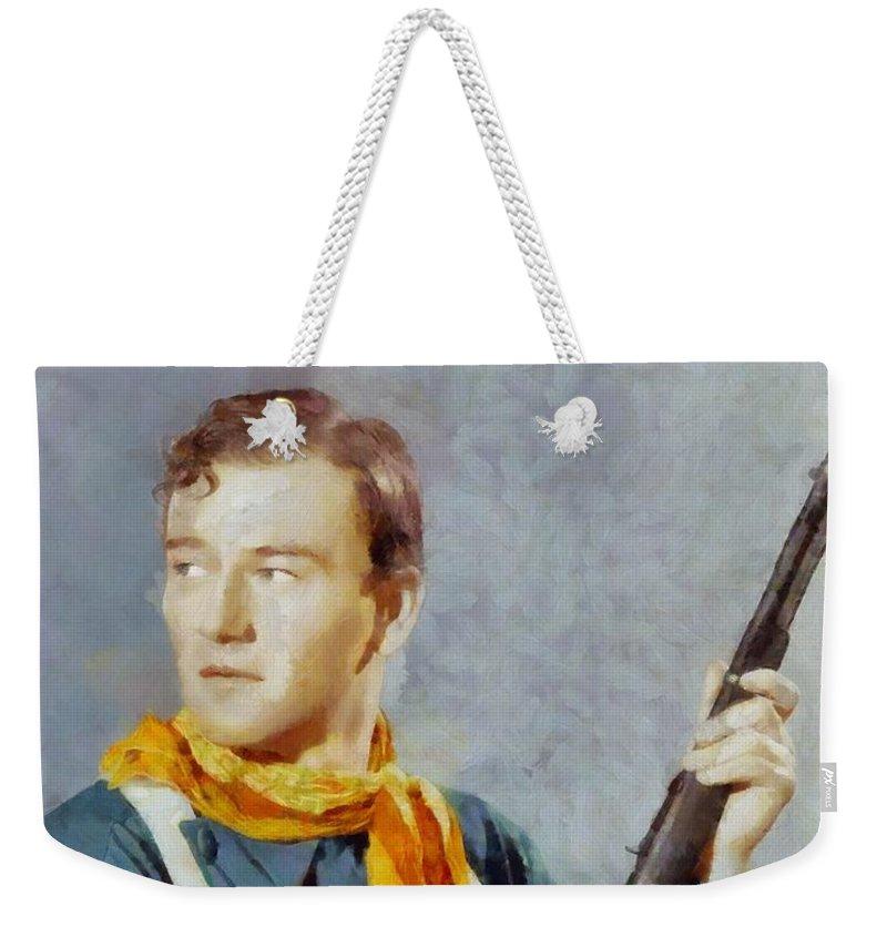 Hollywood Weekender Tote Bag featuring the painting John Wayne, Vintage Hollywood Legend by Sarah Kirk