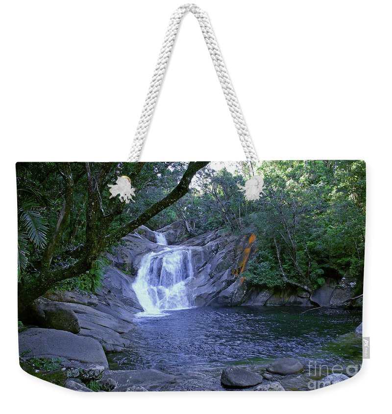 Tropical Weekender Tote Bag featuring the photograph Josephine Falls And Tropical Pool by Kerryn Madsen- Pietsch
