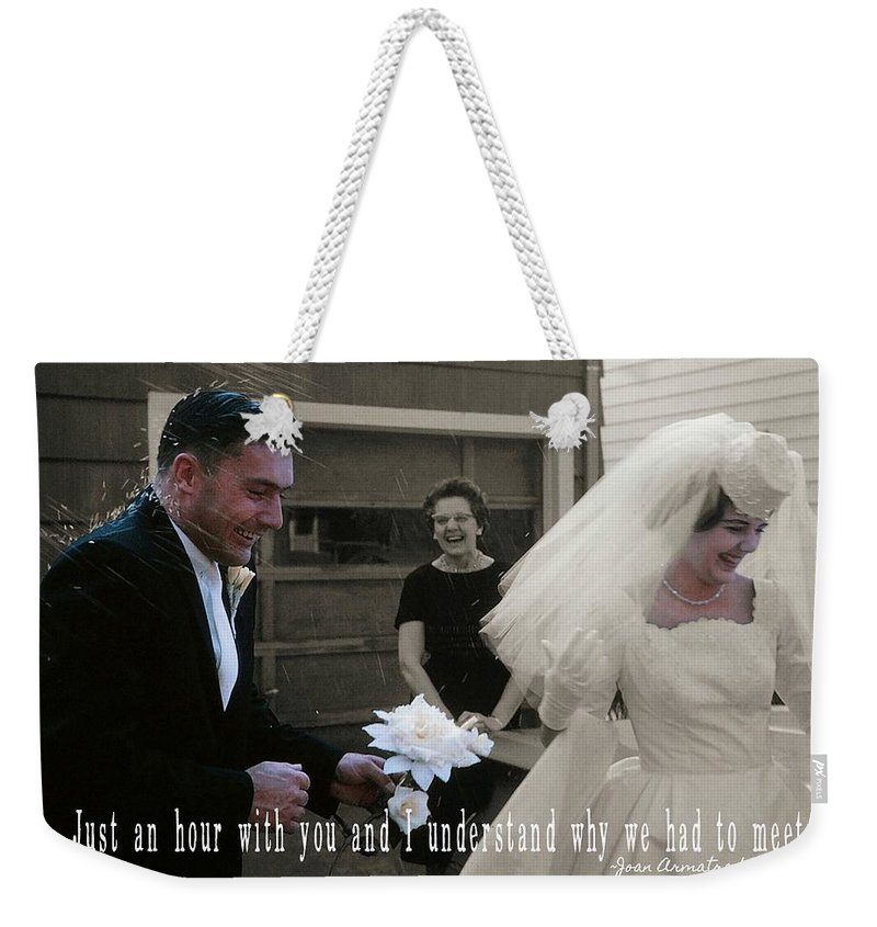 Vintage Weekender Tote Bag featuring the photograph Just Married Quote by JAMART Photography