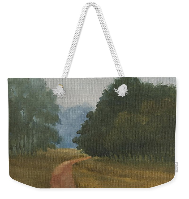 Landscape Weekender Tote Bag featuring the painting Kanha Morning by Mandar Marathe