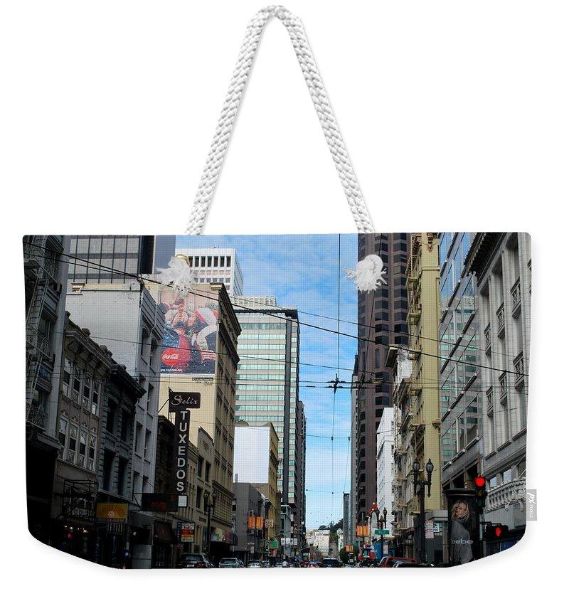 City Weekender Tote Bag featuring the photograph Karney Street San Francisco by Matt Harang