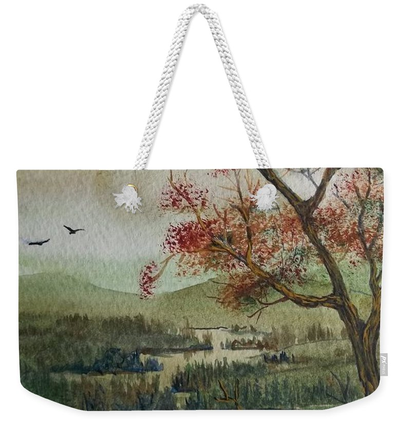 Camping Weekender Tote Bag featuring the painting Kayak Camping by Don Hand