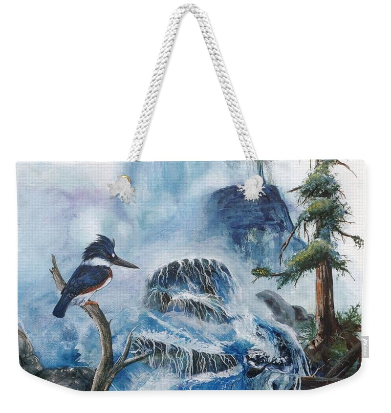 Kingfisher Weekender Tote Bag featuring the painting Kingfisher's Realm by Sherry Shipley