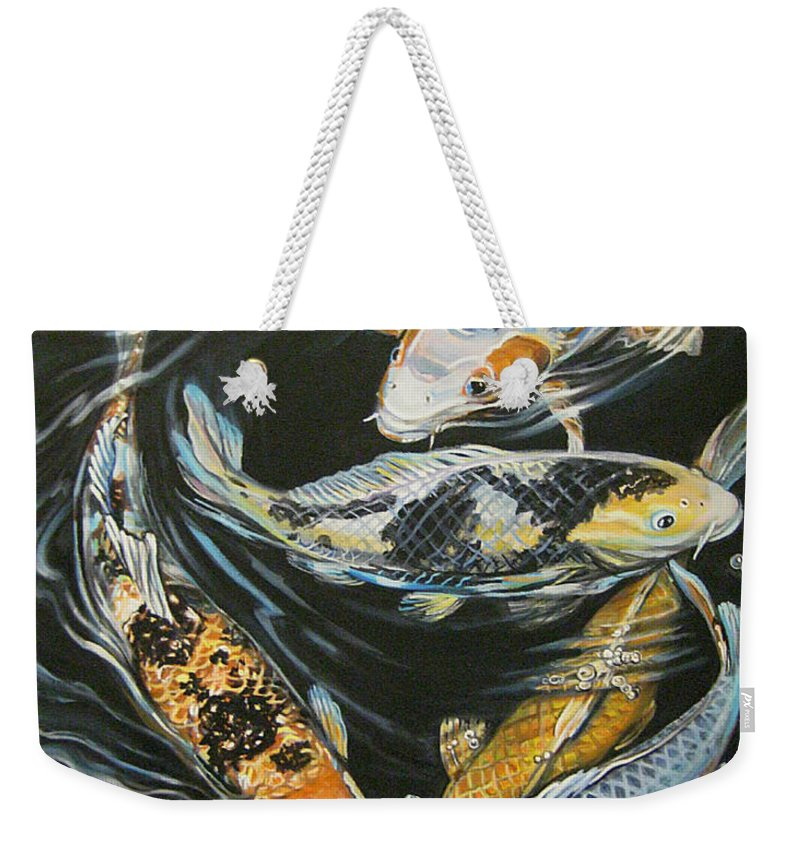 Fish Weekender Tote Bag featuring the painting Koi Pond by Diann Baggett