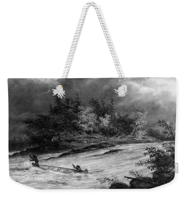 1855 Weekender Tote Bag featuring the photograph Krieghoff: Canoe On Rapids by Granger