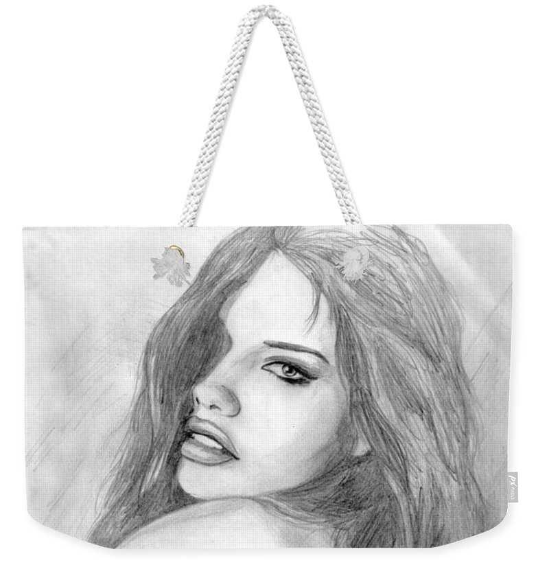 Adriana Lima Weekender Tote Bag featuring the drawing 1 by Kristopher VonKaufman