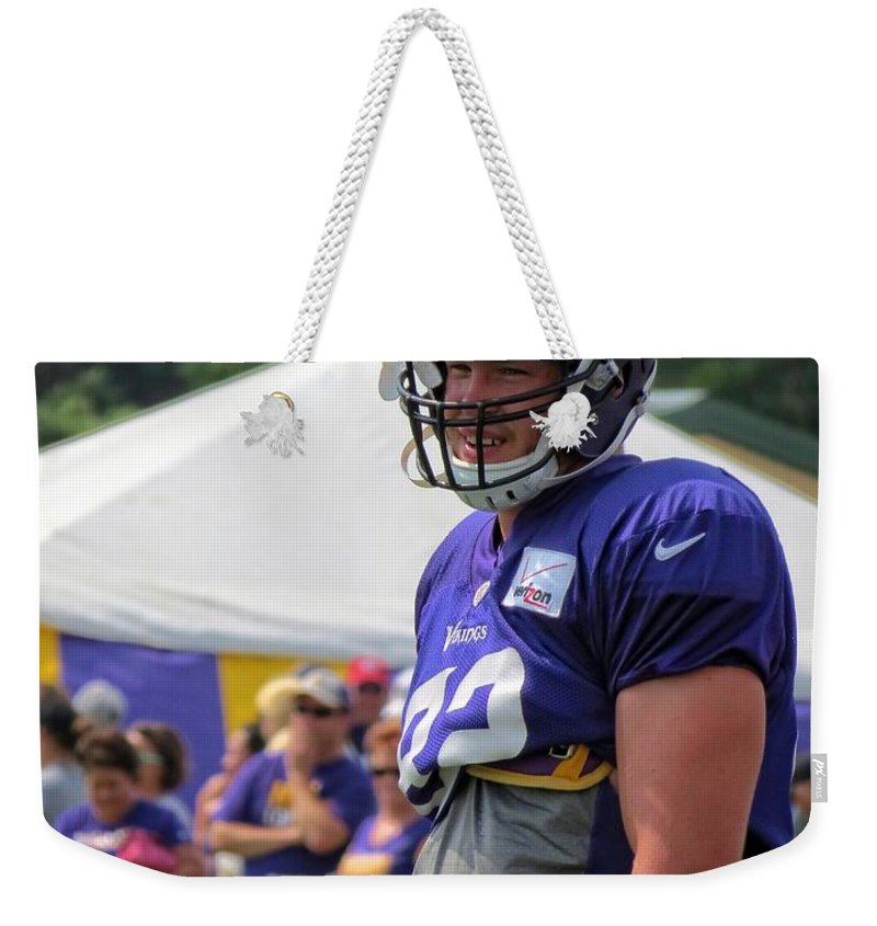 Nfl Weekender Tote Bag featuring the photograph Kyle Rudolph by Kyle West