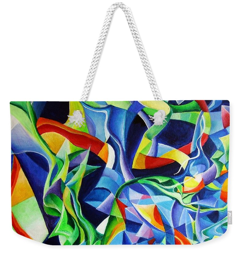 Claude Debussy Acrylic Abstract Pens Music Weekender Tote Bag featuring the painting La Mer by Wolfgang Schweizer