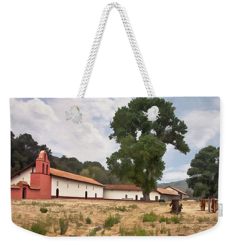 Mission Weekender Tote Bag featuring the digital art La Purisima Mission II by Sharon Foster