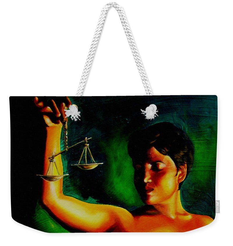 Law Art Weekender Tote Bag featuring the painting Lady Justice by Laura Pierre-Louis