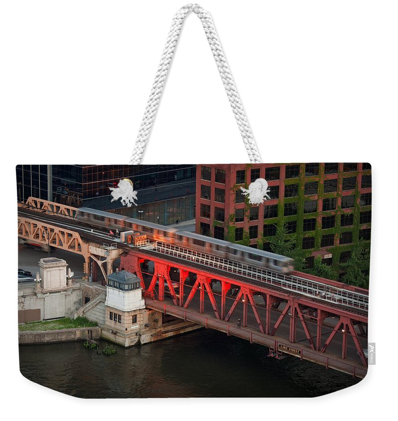 Chicago Weekender Tote Bag featuring the photograph Lake Street Crossing Chicago River by Steve Gadomski
