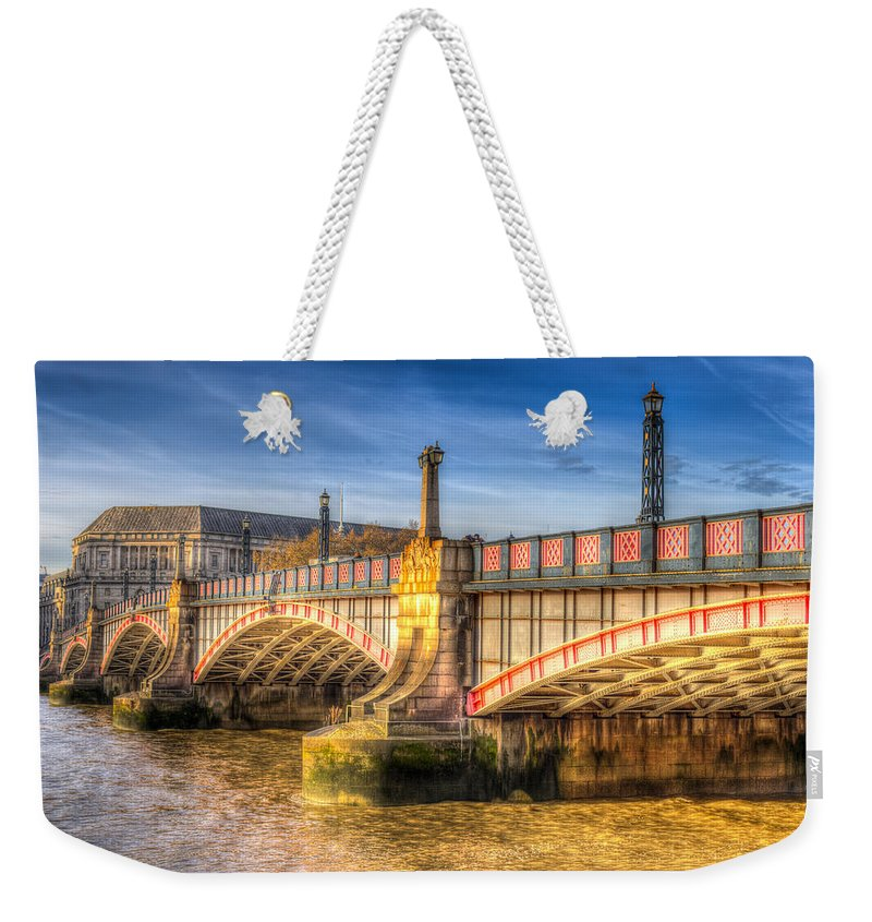 London Weekender Tote Bag featuring the photograph Lambeth Bridge London by David Pyatt