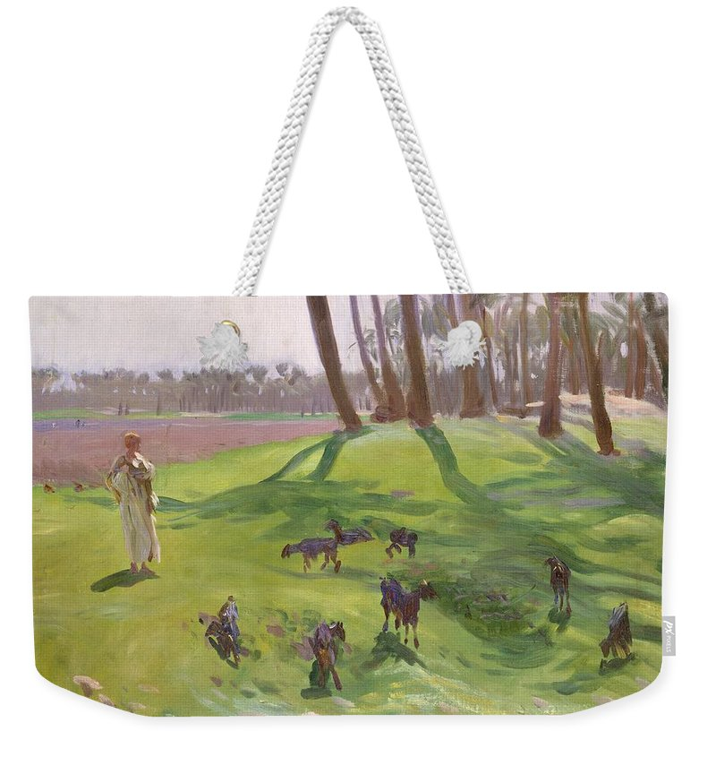 John Singer Sargent Weekender Tote Bag featuring the painting Landscape With Goatherd by John Singer Sargent