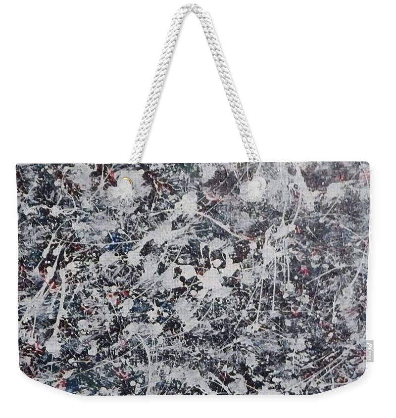 Snow Winter Pollack Style Weekender Tote Bag featuring the painting Winter by Dennis Young