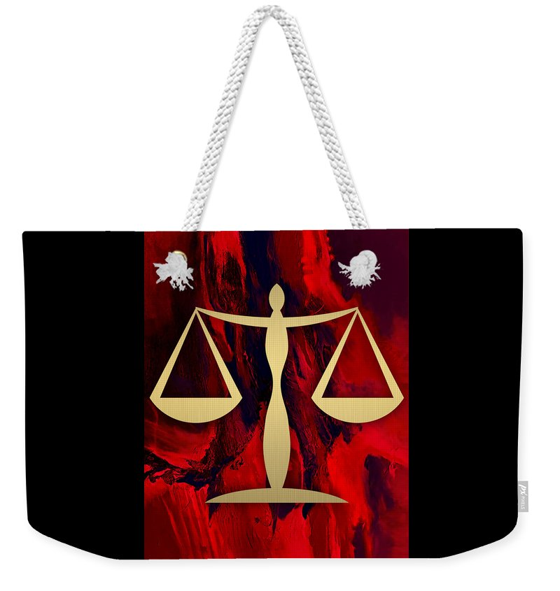 Law Weekender Tote Bag featuring the mixed media Law Office Collection by Marvin Blaine