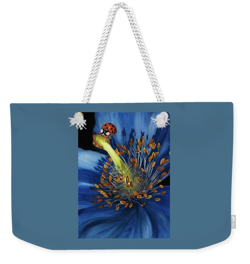 Flower Weekender Tote Bag featuring the painting Lazuline by Barbara Keith